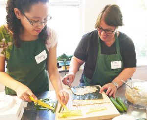 Cancer Coach Training - Students Cutting Vegetables