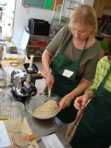 Mixing Raw Cracker Batter at the Cleanse Workshop
