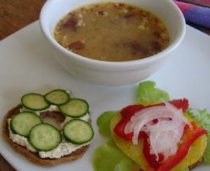 Raw Bagel With Vegan Cheese and Raw Miso Soup