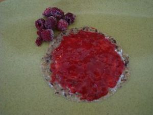 Raw Breakfast Bread With Raw Coconut Butter and Raspberry Jam
